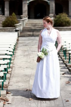 """V-neck Vintage Inspired Wedding Gown """"Emma"""", long white wedding dress with pockets and pleats, couture white bridal gown, CUSTOM MADE style"""
