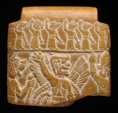 The Babylonians believed that the demoness Lamashtu was responsible for still births and cot-deaths. A woman would have worn this quartzite stone amulet (now broken) during pregnancy and labour so that the fierce demons on it, and the incantation on the back, would scare Lamashtu away.