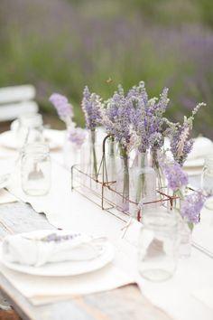 Love the bid vases with lavender. Katie I have like 80 milk glasses