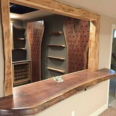 From Looks like this Thanksgiving dinner went well, all the wine is gone! Tag a friend who'd love this! Live Edge Bar, Wood Joints, Branch Decor, Timber Wood, Fine Woodworking, Bars For Home, Wood Furniture, Kitchen Remodel, Home Improvement