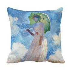 Woman with a Parasol  Claude Monet Pillows