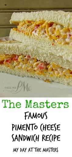 My Day at the Masters and The Masters Famous Pimento Cheese SandwichThe iconic sandwich at The Masters golf tournament is the Pimento Cheese Sandwich! You just must have the Pimento Cheese Sandwich every time you visit The Masters! Pimento Cheese Sandwiches, Pimento Cheese Recipes, Cheese Sandwich Recipes, Soup And Sandwich, Pimiento Cheese, Pimento Cheese Sandwich Masters, Cheddar Cheese, Salsa Golf, Good Food