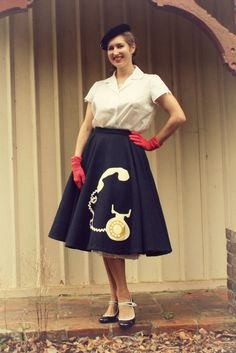 Charolotte from Tuppence Ha'penny's seriously fantastic Telephone Applique Circle Skirt.