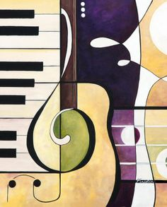 Love this imagery Guitar Painting, Music Painting, Music Artwork, Guitar Art, Jazz Art, Arte Pop, Cool Paintings, Art Plastique, Pop Art