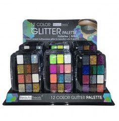 BEAUTY TREATS 12 Colors Glitter Palette Display Set, 24 Pieces