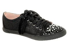 Your Party Shoes Women's Lexi Glitter Rhinestone Fashion Sneakers