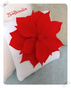 Decorate your home with Poinsettia Pillows! Use felt for the petals and a pillow form to create this free Christmas craft. Sit back and relax this season. All Things Christmas, Christmas Holidays, Christmas Decorations, Christmas Ornaments, Christmas Poinsettia, Holiday Decorating, Felt Crafts, Holiday Crafts, Diy Crafts