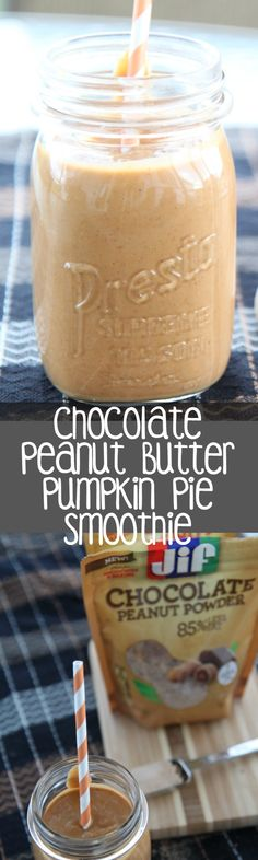 Pumpkin Pie Smoothie made with Jif Peanut Butter Powder, pumpkin pie spice, pumpkin puree, yogurt, and your favorite milk. Perfect way to celebrate the pumpkin for breakfast this fall! AD #JifPeanutPowder #WalMart