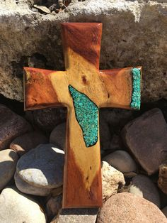 Mesquite wood cross with kingman turquoise by Mesquitedecorandmore