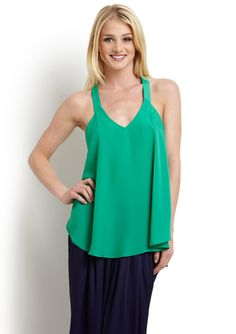 BCBGeneration Ruffle Strap Top. Love the Green for Summer.