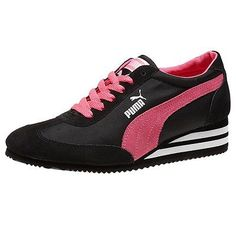Puma Caroline Stripe High Heel Black Pink Women's Fashion Casual Shoes 35585703