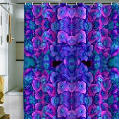 Amy Sia Future Floral Blue Shower Curtain