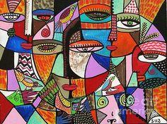 Cubist Talavera Bird Goddess - Sandra Silberzweig