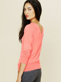 Free People V-Back Pullover - Hot Peach