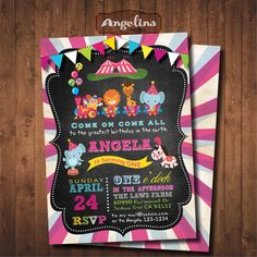 Pink Circus Birthday Invitation. Carnival Invite. by AngelinaWorks