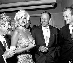 Harpo Marx, Jayne Mansfield, Frank Sinatra, and Red Skelton at The Racquet Club