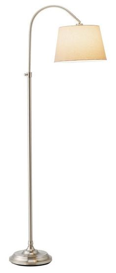 """Adesso 3188 Bonnet 1 Light 33"""" Tall Arc Floor Lamp with Linen Shade Brushed Steel Lamps Floor Lamps"""