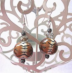 Tiger Print Polymer Clay Earrings £5.00