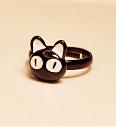 Women's Super Cute Black Cat Adjustable Cocktail Ring - Rings - Jewelry - Women Free Shipping