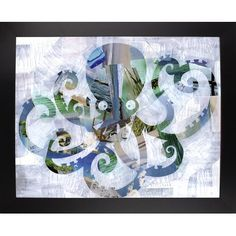 Ebern Designs 'Octopus' Graphic Art Print Format: Wrapped Canvas Floater Framed