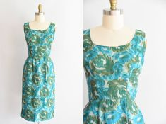 Butter soft silk with large green and blue roses. Straight skirt with kick pleat in back. State of garment Rose Dress, Silk Dress, Blue In Green, Hip Ups, Blue Roses, Straight Skirt, Wiggle Dress, Dress Vintage, 1950s