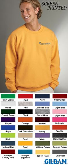 #gildan #mens #sweatshirts #companion #series #apparel $10.18 Features: preshrunk 50% cotton and 50% polyester; 7.75-ounce; air-jet yarn for softer feel and no pilling; set-in sleeves; double-needle stitching throughout; 1x1 athletic rib with spandex; quarter-turned to eliminate center crease.  http://ezcorporateclothing.com/custom/165-Gildan/1513-Gildan-Adult-Heavy-Blend-Crewneck-Sweatshirt/
