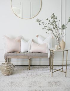 White with blush Tassel Throw Pillow Cover Blush Pillows, White Throw Pillows, White Pillow Covers, 20x20 Pillow Covers, Pink Bedroom Decor, Living Room Decor, Entryway Decor, Decoration, Interior Design