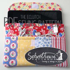 eclutch sewing pattern sleeve case with by SchoolhousePatterns