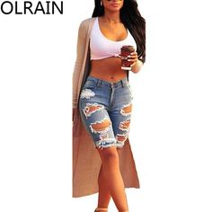 Olrain Women's High Waist Ripped Hole Washed Distressed Midi Short Jeans