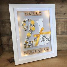 3d Box Frames, Box Frame Art, Shadow Box Frames, Diy Frame, Personalised Childrens Gifts, Personalized Photo Frames, Scrabble Wall Art, Scrabble Frame, Diy Birthday Frame
