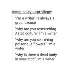 """""""I couldn't find data on the decomposition of a body in an attic like mine, leave me alone."""""""
