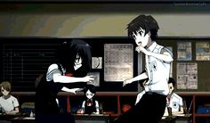 Sakakibara and Misaki. This scene was so adorable and out of place! | Another
