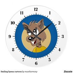 Smiling hyena cartoon clock