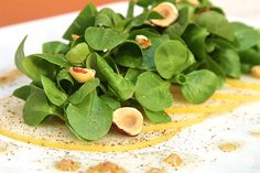 Mâche and Asian pear salad with hazelnuts and truffle vinaigrette