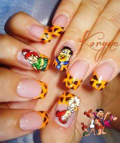 Flintstones nail art