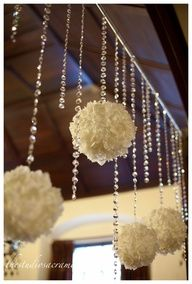 white roses wedding centerpiece with hanging crystals | Floral Arrangements and Centerpieces