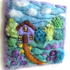 Maybe Frodo's house at Crickhollow Wet Felting, Needle Felting, French Knots, Middle Earth, Shadow Box, Textile Art, Spinning, Embellishments, Textiles