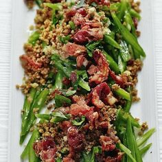 Runner beans with mustardy pancetta crumbs, a delicious recipe in the new M&S app. Bean Recipes, Pork Recipes, Sweet Recipes, Healthy Recipes, Veg Dishes, Vegetable Side Dishes, Runner Beans, Veggie Delight