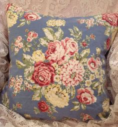 Vintage Waverly Pillow Cover Gorgeous cabbage roses and summer time flowers. Fabric is a textured barkcloth.  Pillow is unfinished in photos, only pillow front is shown. The backside will be in a matching solid cotton envelope style for easy access of your pillow form. Measures: 18x18 Other sizes available.  Colors:sky blue background with flowers in shades of red, rose, pink, yellow and cream. Soft to medium shades of green leaves.  *Custom made to order* All sales are final with any…