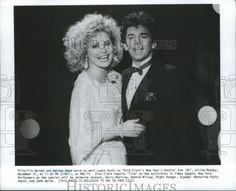1985 Press Photo Priscilla Barnes & Adrian Zmed-Dick Clark New Years Rockin' Eve