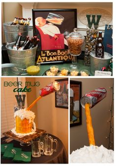 Beer tasting party idea- awesome beer cake! Minus the bud can...like the buckets and bottle cap holder