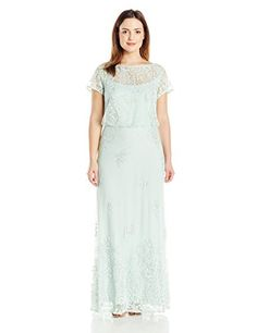 Brianna Womens Plus Size Short Sleeve Blouson Long Gown All Over Beading Aqua 16W -- You can get additional details at the image link.