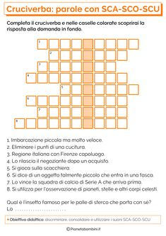 Parole con SCA-SCO-SCU Learning Italian, Periodic Table, Education, School, 3, Alice, Culture, Technology, Google