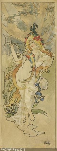 Girl With Parrot - Alphonse Mucha.