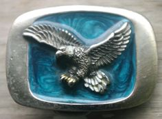 Vintage Silvertone Belt Buckle Blue Enamel Eagle Great American Buckle Co 1983 #GreatAmericanBuckleCompany