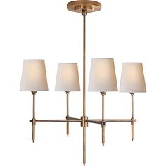Bryant Small Chandelier in Antique Brass  - A more contemporary chandelier with clean industrial design.
