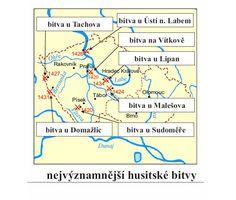 nejvýznamnější husitské bitvy Map, Historia, Location Map, Maps