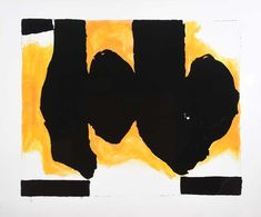 "ROBERT MOTHERWELL (American 1915-1991) ""Burning Elegy"" Color lithograph printed in colors with hand coloring #michaans #auctions #fineart https://www.michaans.com/highlights/2018/highlights_01132018.php"