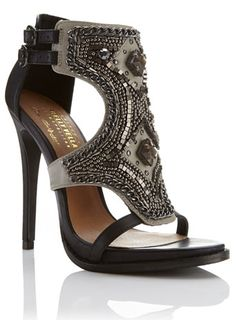Leather Pretty Indian Embellished High Sandal... Petra Leather Embellished Heel .•´¨`•.,¸