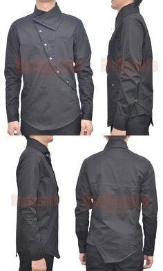 Men long sleeves shirt with asymmetrical opening, wrap collar and pocket on left side